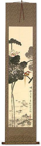 Beautiful Feeling - Bird and Lotus Flower Wall Scroll