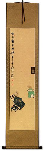 Delightful Tea Drinking - Chinese Wall Scroll