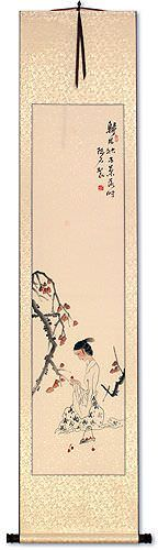 Beautiful Asian Woman Picking Fruit Wall Scroll
