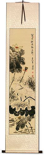 Autumn Rain - Lotus Flower and Egret Birds Wall Scroll
