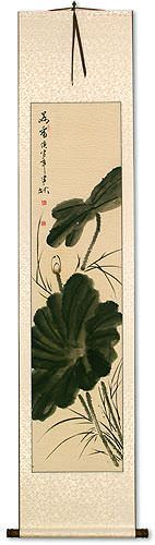 Lotus Flower - Black Ink - Wall Scroll