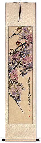 Beautiful Feeling - Bird and Flowering Branch Wall Scroll