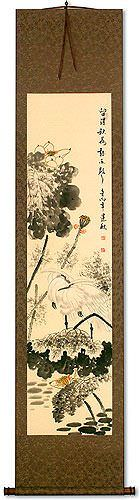 Autumn Rain - Egret Birds and Lotus Flower Wall Scroll