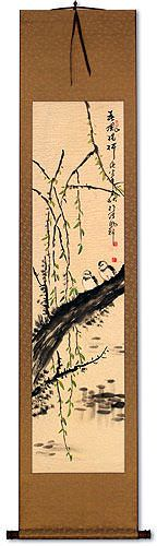 Bird and Willow Flower Wall Scroll