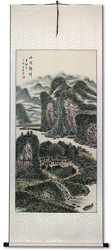 Chinese Village Boat and River Landscape Wall Scroll
