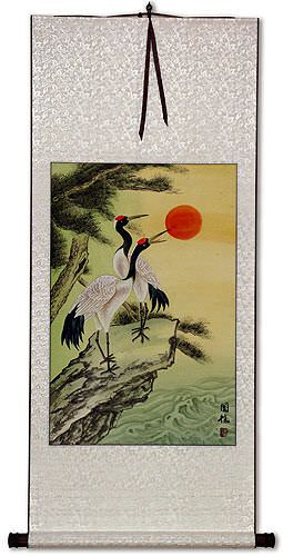 Ocean Cranes and Pine Tree Wall Scroll