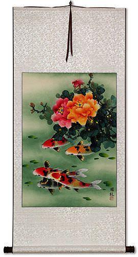 Peony Flowers & Koi Fish - Chinese Wall Scroll