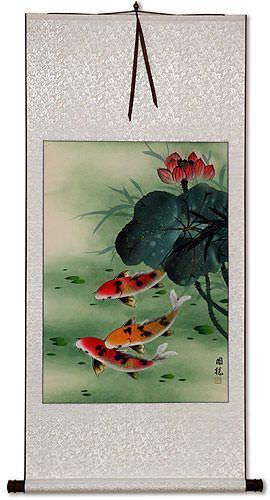 Koi Fish & Lotus Flower - Asian Art Wall Scroll