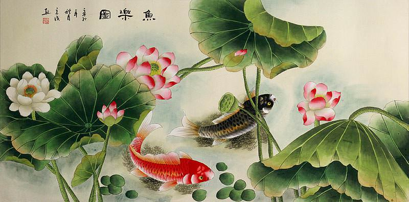 Koi Fish Having Fun in the Lotus Flowers - Large Painting
