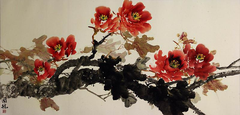 Large Asian Peony Flowers Painting