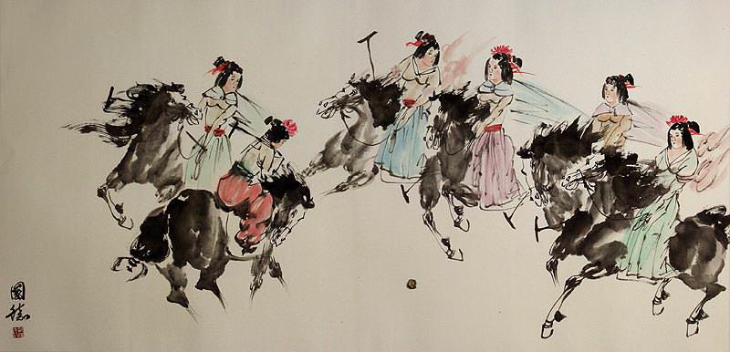 Old Chinese Horseback Polo - Large Painting
