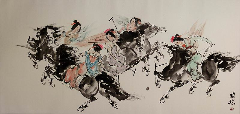 Ancient Chinese Polo on Horseback - Large Painting