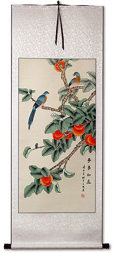 Bird and Persimmon - The Golden Autumn - Chinese Wall Scroll