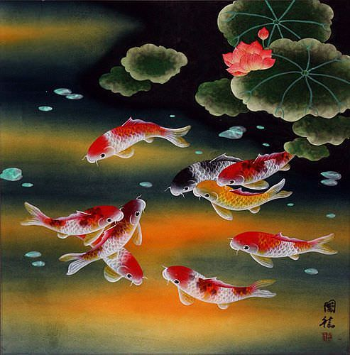 Nine koi fish and lotus flowers asian painting asian for Chinese koi fish painting
