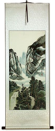 Mountain Waterfall - Chinese Landscape Wall Scroll