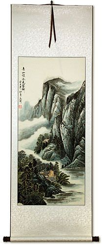 Mountains and River Village Homes - Chinese Landscape Wall Scroll