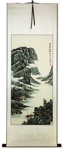 Chinese Mountain River Village and Boats Landscape Wall Scroll