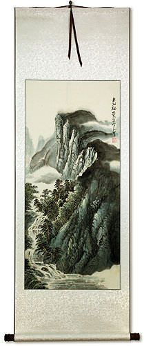 Chinese Mountain River Village Waterfall Landscape Wall Scroll