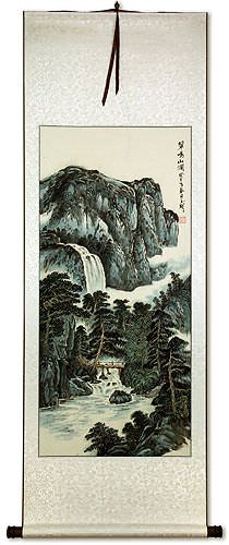 Waterfall and Bridge Landscape Wall Scroll