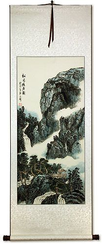 Chinese River Home Landscape Wall Scroll