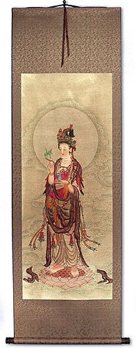 Kuan Yin Buddha - Partial-Print Wall Scroll