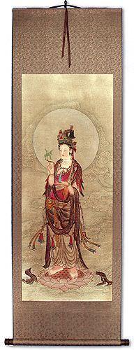 Kuan Yin Buddha - Partial-Print Wall Scroll