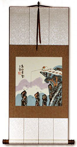 Go Fishing in the Mountains - Chinese Philosophy Wall Scroll