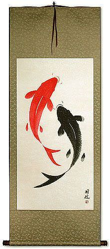 Large Yin Yang Fish Chinese Wall Scroll Asian Koi Fish