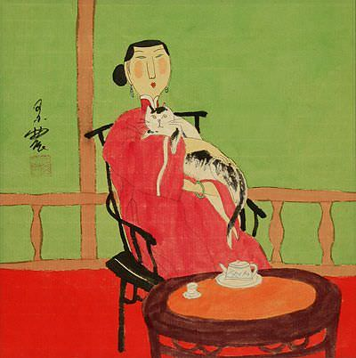 Asian Woman with Cat - Chinese Modern Art Painting