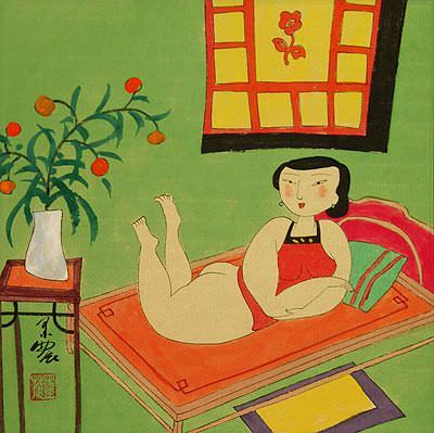 Sexy Chinese Woman on Bed - Modern Art Painting