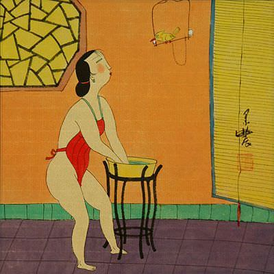 Semi-Nude Chinese Woman and Bird - Modern Art Painting