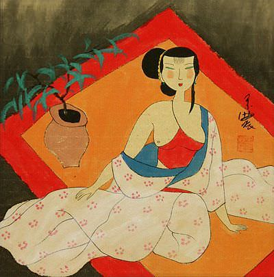 Semi-Nude Asian Woman Relaxing - Modern Art Painting