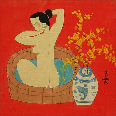 Lady in the Bath - Chinese Modern Art Painting