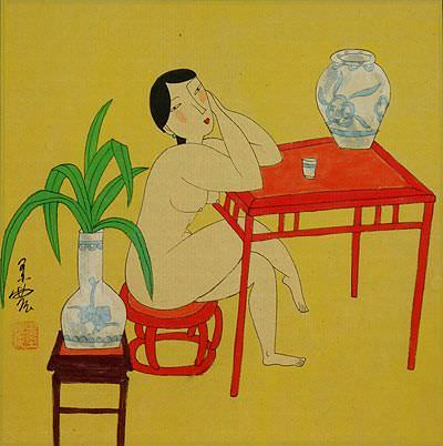 Hanging Out in the Nude - Chinese Modern Art Painting