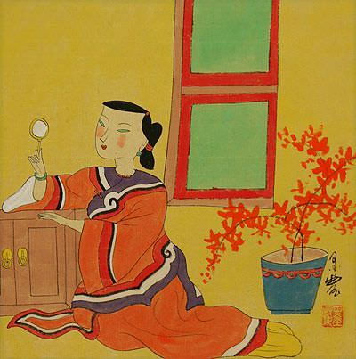 Chinese Woman Checking Mirror - Modern Art Painting