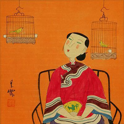 Woman and Bird Cages - Modern Art Painting
