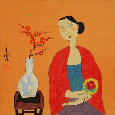 Asian Woman and Kitten - Modern Art Painting