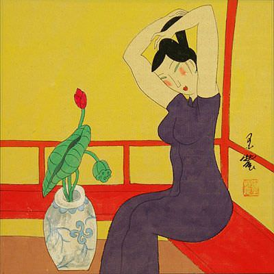 Woman and Lotus in Vase - Modern Art Painting