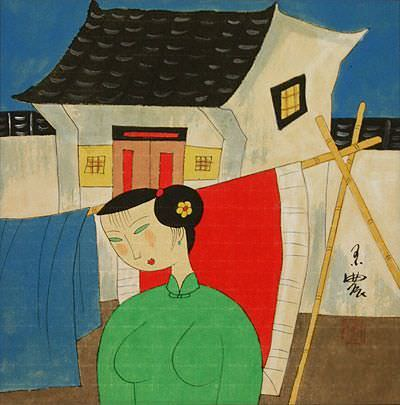 Asian Woman Hanging Laundry - Modern Art Painting