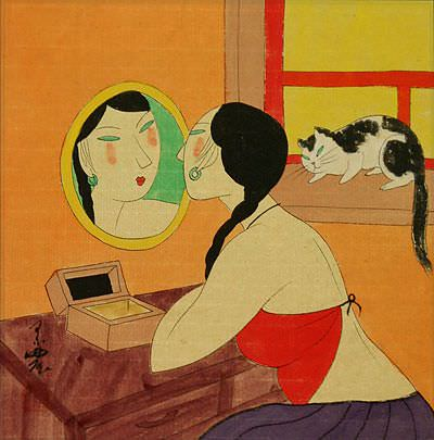 Chinese Woman Mirror Gazing - Modern Art Painting