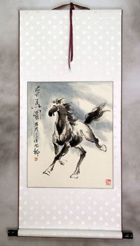 Chinese Running Horse Wall Scroll Asian Horse Artwork