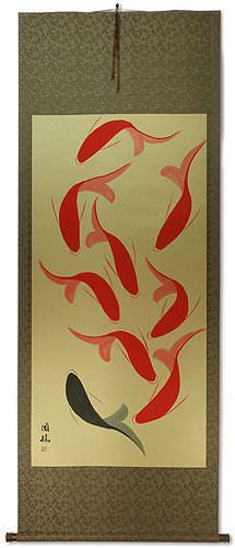 Large Nine Abstract Fish Wall Scroll
