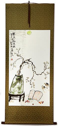 Large Plum Blossom Poetry Wall Scroll Asian Art Bargain