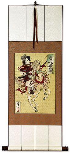 Female Samurai  Hangaku - Japanese Woodblock Print Repro - Wall Scroll
