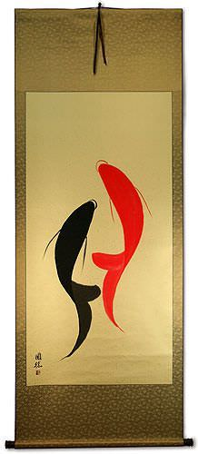 Abstract Yin Yang Koi Fish Wall Scroll