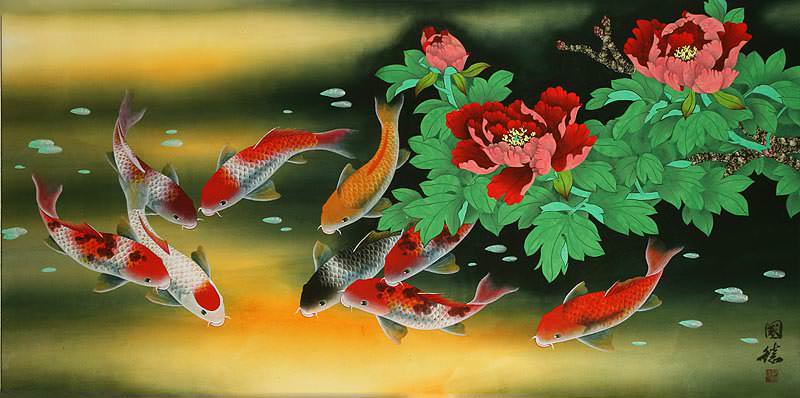 Huge Koi Fish and Peony Flower Painting