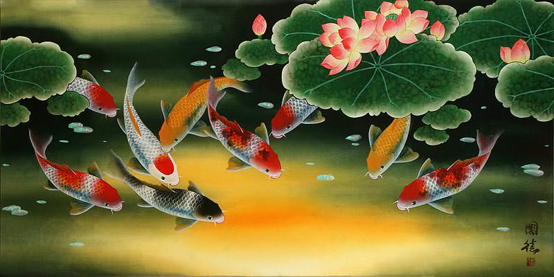 Huge Koi Fish and Lily Asian Art Painting