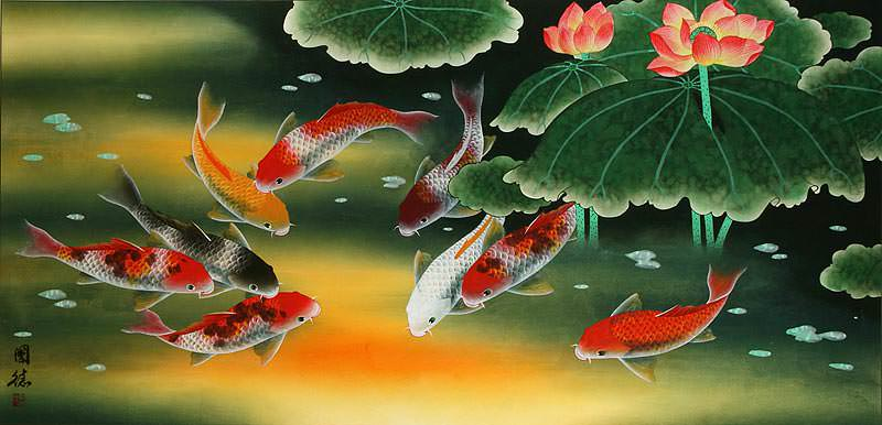 Huge Koi Fish and Lily Oriental Art Painting