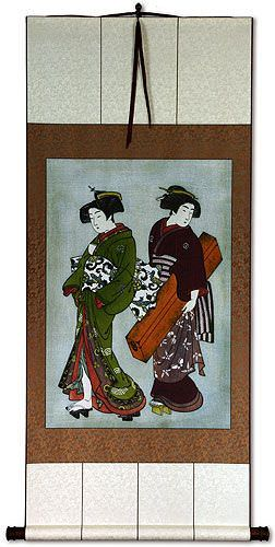 Beautiful Woman of Asia Print Wall Scroll