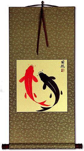 Classic Yin Yang Fish Silk Wall Scroll